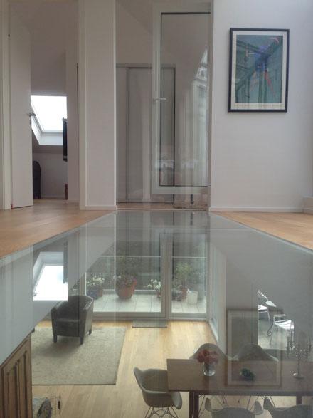 Glasboden in Penthouse-Maisonette-Wohnung